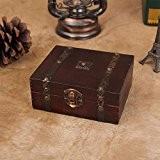 ZRO en bois Boîte de rangement antique Coffre au trésor Organisateur de bijoux Filles Secret Cadeau pour Noël/Anniversaire