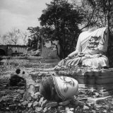 Buddhist Temple Destroyed During Karen Uprising, Buddha's Head Lying Where It Fell During Battle - Jack Birns