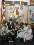 Teacher and Students Sit and Read Beneath Map of Delmarva Peninsula - Jack Fletcher