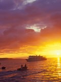 Dinghy Going to Ship at Sunset, Galapagos Islands, Ecuador - Jack Stein Grove