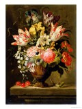 Still Life of Flowers in a Vase with a Lizard on a Ledge - Jacob Marrel
