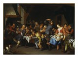 A Tavern Interior with Peasants Merrymaking - Jacob Toorenvliet