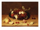 Plums and Peaches on a Pewter Dish with Cherries and a Carnation on a Table - Jacob van Hulsdonck