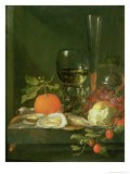 Still Life of Oysters, Grapes, Bread and Glasses on a Ledge - Jacob van Walscapelle