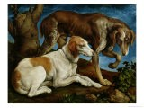 Two Hunting Dogs Tied to a Tree Stump, c.1548-50 - Jacopo Bassano