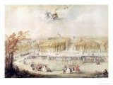 View of the Gardens and the Chateau of Versailles from the Neptune Fountain - Jacqes Andre Portail
