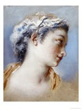 A Portrait Study of a Young Girl in Profile to the Right - Jacques Andre Portail