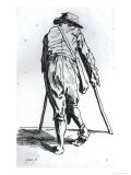 Beggar on His Crutches, from Behind - Jacques Callot