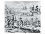 "English Trading with Indians of the West Indies, from ""Americae,"" by Theodor De Bry - Jacques Le Moyne"