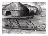 "Florida Indians Storing Their Crops in the Public Granary, from ""Brevis Narratio"" - Jacques Le Moyne"