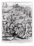 The Indians Attacking the Priests and Others and Setting Fire to Their Houses - Jacques Le Moyne