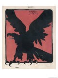 The Black Silhouette of an Eagle Against a Strong Red Background - Jacques Nam