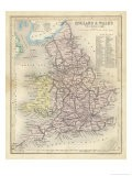 Map of England and Wales Showing Railways and Canals - James Archer