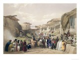 The Main Street in the Bazaar at Caubul, Fruit Season, Sketches in Afghaunistan, Engraved Haghe - James Atkinson