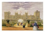 Eastern View of the Castle and Garden, Windsor Castle, 1838 - James Baker Pyne