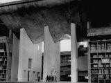Entrance to Punjab High Court Building, Designed by Le Corbusier, in the New Capital City of Punjab - James Burke