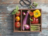 Vegetables in Wooden Crate - James Carrier
