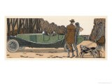 Couple in a Renault Pause to Exchange Chit-Chat with a Couple with Gun and Dogs and Gamekeeper - James De Coquet