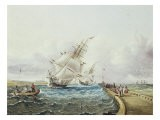 Square Rigged Ships Off Jetty - James Edward Buttersworth