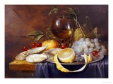 A Roemer, a Peeled Half Lemon on a Pewter Plate, Oysters, Cherries and an Orange on a Draped Table - Joris Van Son