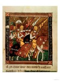 Knights on Horseback, an Illuminated Page from the Crusades of Godefroy De Bouillon