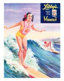 Surfer Girl, Libby's Pineapple Poster 1957 - Laffety