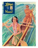 Surfing on Outrigger Canoe, Libby's Pineapple Hawaii, c.1957 - Laffety