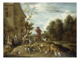 Huntsmen and Hounds in a Landscape - Lambert De Hondt