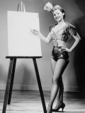 Showgirl Pointing to Piece of Blank Board, 1960S - Lambert
