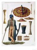 Warrior from Island of Guebel, Plate 17, Le Costume Ancien ou Moderne, c.1820-30 - Landini