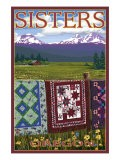Sisters, Oregon View with Quilts on Fence, c.2009 - Lantern Press