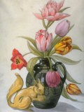 Tulips in Various Shades of Red and Pink in a Vase, by Laurence Perugini at Greenway - Laurence Perugini