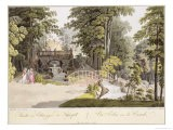"View of the Cascade at Erlaw, Vienna, from ""Pleasure Gardens in and Around Vienna"" - Laurenz Janscha"
