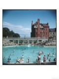 Lively Scene at the Lido at Rhos-On-Sea, North Wales