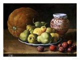 Pears on a Plate, a Melon, Plums, and a Decorated Manises Jar with Plums on a Wooden Ledge - Luis Melendez