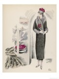 Design by Madeleine Vionnet: 3/4 Length Wrap Over Coat with Broad Grey Fur - Madeleine Ruegg