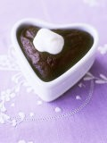 Chocolate Pudding with Cream in Heart-Shaped Dish - Maja Smend
