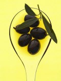 Black Olives in Olive Oil with Sprig of Olive Leaves - Marc O. Finley
