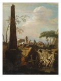 Italianate Landscape with an Obelisk and Archaeologists by Classical Ruins - Marco Ricci