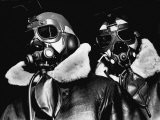 Pilots of American Bomber Command Wearing High Altitude Clothes, Oxygen Masks and Flight Goggles - Margaret Bourke-White