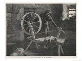 Wool-Spinning in a Cottage at Lismore Ireland - Margery Stokes