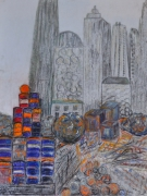 mixte architecture travaux ville pastel crayon gris multicolore : chantier à Manhattan