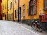 Street Scene in Gamla Stan Section with Bicycle and Mailbox, Stockholm, Sweden - Nancy & Steve Ross