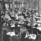 Parisians Dining Outdoors in Balmy Spring Weather - Nat Farbman