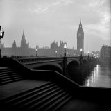 View of the Houses of Parliament as Seen Across Westminster Bridge at Dawn - Nat Farbman