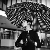 Checked Parasol, New Trend in Women's Accessories, Used at Roosevelt Raceway - Nina Leen