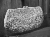 First Lady Mrs. Dwight D. Eisenhower's Inaugural Jeweled Purse Encrusted with 3,456 Pink Pearls - Nina Leen