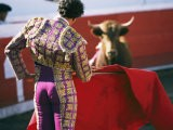 Bullfighter Holds his Red Cape Before a Bull - Pablo Corral Vega