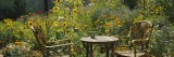 Empty Chairs and a Table in a Garden, Taos, New Mexico, USA - Panoramic Images