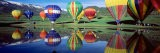 Reflection of Hot Air Balloons on Water, Colorado, USA - Panoramic Images